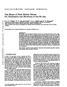 The Shape of Dark Matter Haloes III. Kinematics and Structure of the ...