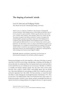 The shaping of animals' minds