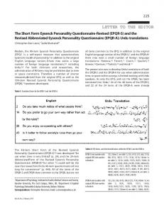 The Short Form Eysenck Personality Questionnaire-Revised (EPQR-S ...