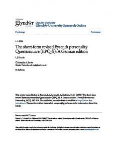 The short-form revised Eysenck personality Questionnaire (EPQ-S): A