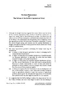 The Siena Memorandum on 'The Reform of the Common Agricultural ...