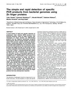 The simple and rapid detection of specific PCR products from bacterial ...
