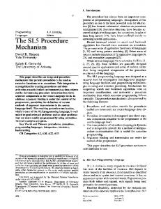 The SL5 Procedure Mechanism - Arizona Computer Science