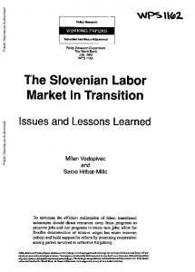 The Slovenian Labor Market in Transition - World bank documents