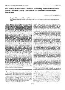 The SO-kDa Mitochondrial Proteins Induced by Hormone Stimulation ...