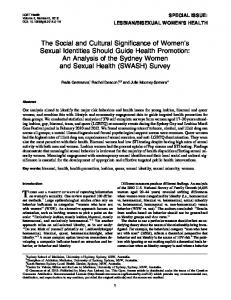 The Social and Cultural Significance of Women's Sexual Identities ...