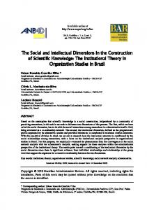 The Social and Intellectual Dimensions in the Construction of ... - SciELO