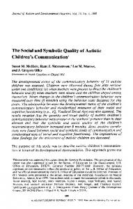 The social and symbolic quality of autistic children's ... - Springer Link