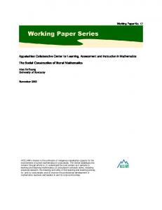 The Social Construction of Rural Mathematics. Working Paper No. 17.