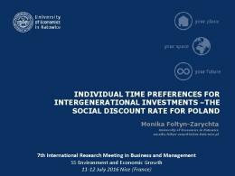 THE SOCIAL DISCOUNT RATE FOR POLAND ...