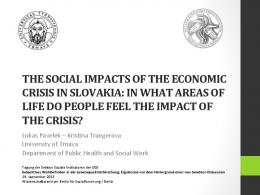 the social impacts of the economic crisis in slovakia