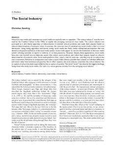 The Social Industry - SAGE Journals