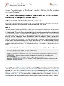 The Social Psychology of Citizenship, Participation and Social Exclusion