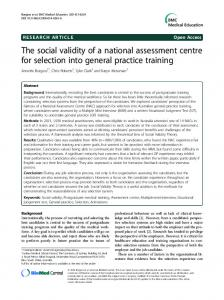 The social validity of a national assessment centre ... - Semantic Scholar