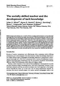 The socially skilled teacher and the development of tacit knowledge