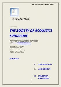 the society of acoustics singapore
