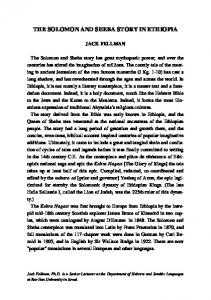 the solomon and sheba story in ethiopia - Jewish Bible Quarterly