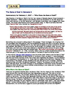 The Sons of God in Genesis 6