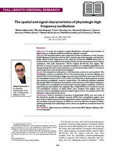 The spatial and signal characteristics of ... - Wiley Online Library