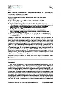 The Spatial-Temporal Characteristics of Air Pollution in China ... - MDPI