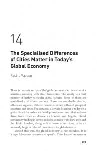 The Specialised Differences of Cities Matter in ... - Saskia Sassen