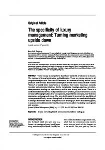The specificity of luxury management: Turning marketing upside down ...