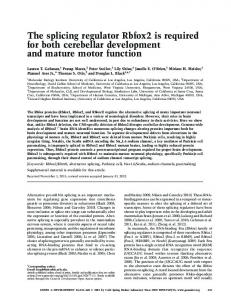 The splicing regulator Rbfox2 is required for both cerebellar ...