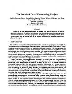 The Stanford Data Warehousing Project - Stanford University