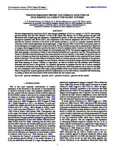 the star formation history and chemical evolution of star ... - IOPscience
