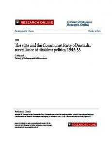 The state and the Communist Party of Australia ...