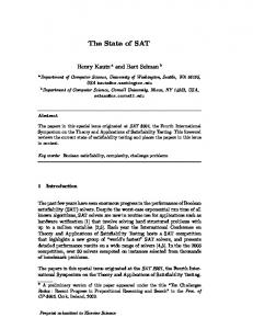The State of SAT - Cornell Computer Science - Cornell University