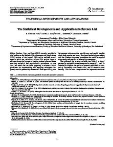 The Statistical Developments and Applications Reference List