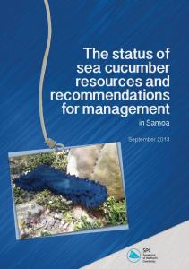 The status of sea cucumber resources and recommendations for ...