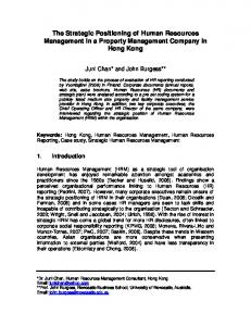The Strategic Positioning of Human Resources Management in a ...