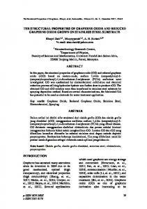 the structural properties of graphene oxide and