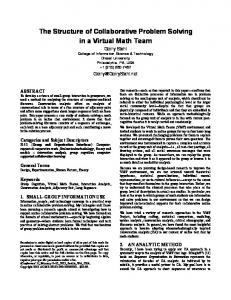 The Structure of Collaborative Problem Solving in a ... - Gerry Stahl