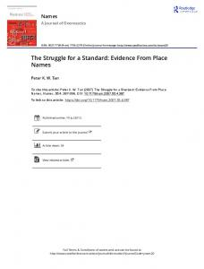 The Struggle for a Standard: Evidence From Place ...