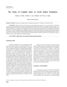 The Study of Cephalic Index in North Indian Population - SciELO