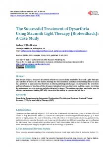 The Successful Treatment of Dysarthria Using Strannik Light Therapy ...