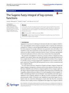 The Sugeno fuzzy integral of log-convex functions - SpringerOpen