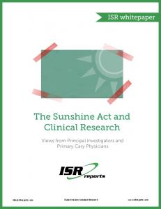 The Sunshine Act and Clinical Research - Industry Standard Research