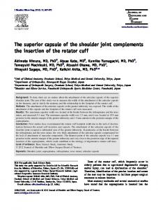 The superior capsule of the shoulder joint complements the insertion ...