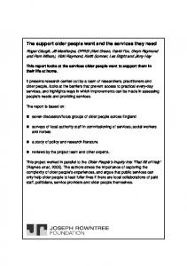 The support older people want and the services they need