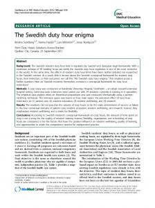 The Swedish duty hour enigma - CiteSeerX