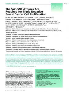 The SWI/SNF ATPases Are Required for Triple Negative Breast ...