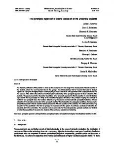 The Synergetic Approach to Liberal Education of ... - Semantic Scholar