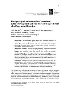 The synergistic relationship of perceived autonomy ... - CiteSeerX