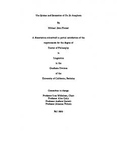 The Syntax and Semantics of Do So Anaphora By ... - Linguistics