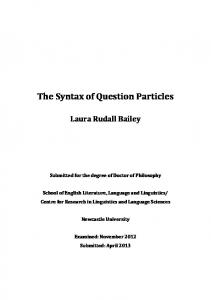 The Syntax of Question Particles