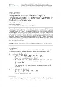 The Syntax of Relative Clauses in European Portuguese. Extending